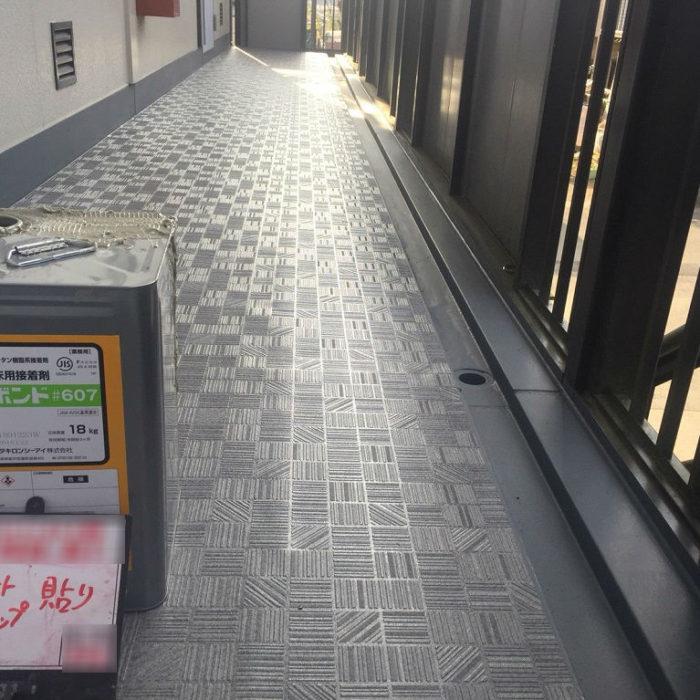 共用廊下の床のシート防水(長尺シートの張り付け) 埼玉県蓮田市・Bアパートにて雨漏り修理