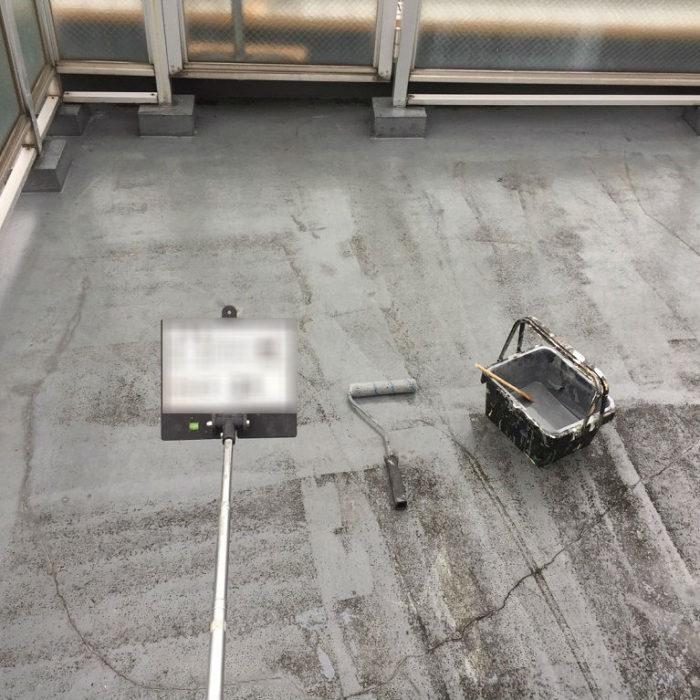 FRP防水層の劣化によるルーフバルコニーの防水工事(ウレタン通気緩衝工法) 埼玉県鴻巣市のSマンションにて雨漏り修理
