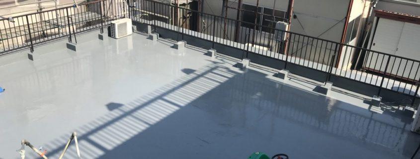 屋上の防水工事(ウレタン塗膜・通気緩衝工法)