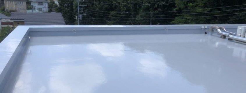 屋上のウレタン防水施工完了