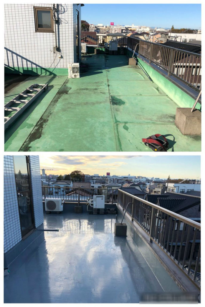屋上防水の施工前・施工後