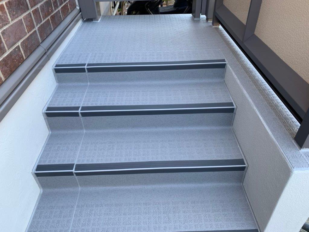 階段の防水工事完工